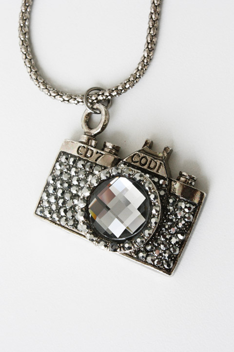 ANTIQUE MINI CAMERA TAUPE CZ CRYSTAL PENDANT NECKLACE