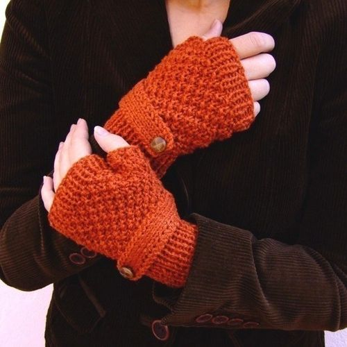 Burnt Orange fingerless gloves with a strap