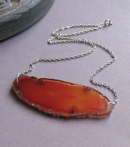 Agate Slice Necklace on Silver Chain--Rust